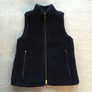 J.crew navy teddy bear plush fleece vest blue